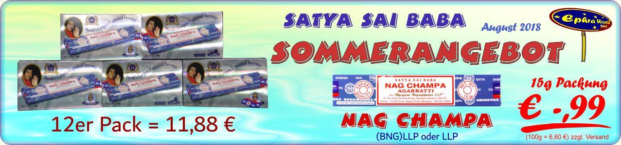 - Satya Sai Baba Nag Champa Masala Räucherstäbchen 15g, 0,99 €