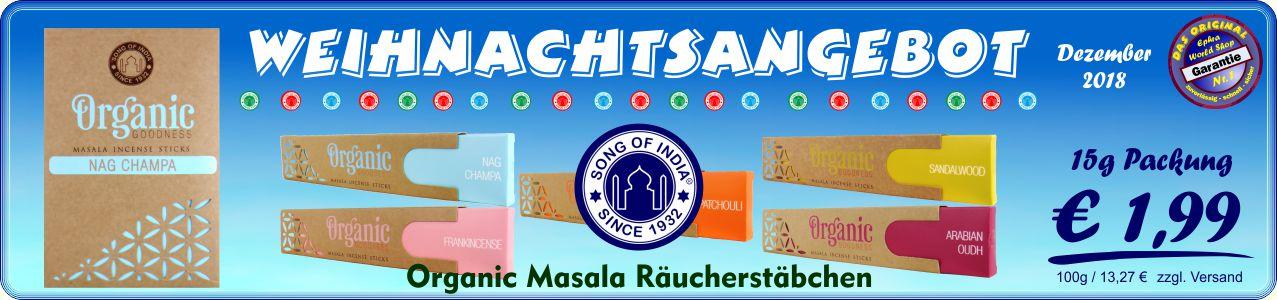 Räucherstäbchen Shop - R.Expo Song Of India Organic Masala Räuchrestäbchen 15g, 1,99 €