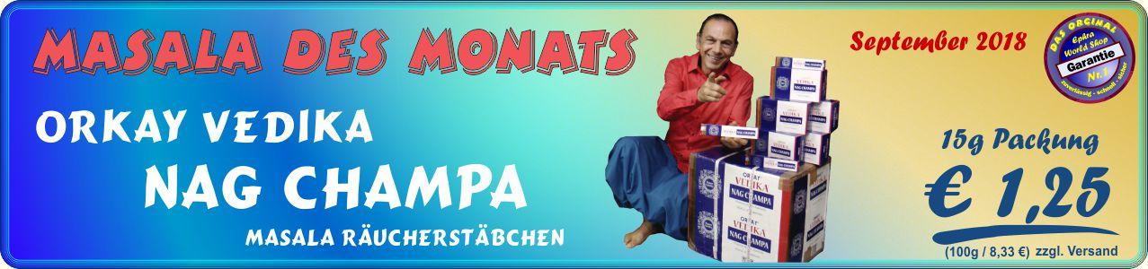 Unsere Empfelung: Vedika Nag Champa Masala Räucherstäbchen 15g, 1,25 €
