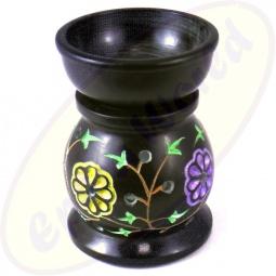 Duftlampe aus Speckstein mit bunter Blumengravur