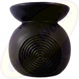 Duftlampe Ringe schwarz Keramik 15 x 13,5cm