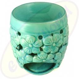 Duftlampe türkis mit Blumen 17 x 12 cn