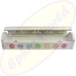 Komfort Räucherstäbchenhalter Box 7 Chakras Weiß - Bunt