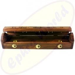 Räucherstäbchenhalter Box aus Holz mit Yin Yang Motiv