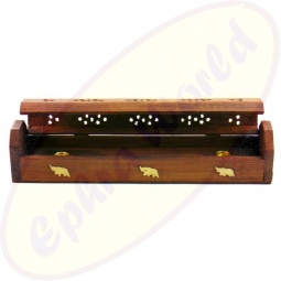 Komfort Räucherstäbchenhalter Box Holz Motiv Elefanten