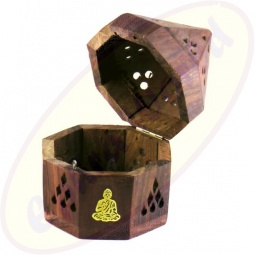 Räucherkegel Box Holz achteckig Buddha Motiv