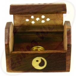 Räucherkegel Box Holz Motiv  Yin Yang