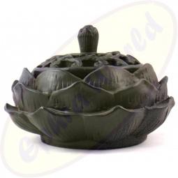 Räucherkegel Halter Lotus in schwarz 11x7cm
