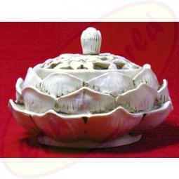 Räucherkegel Halter Lotus in weiß 11x7cm