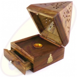 Räucherkegel Box Pyramide Holz Motiv Buddha