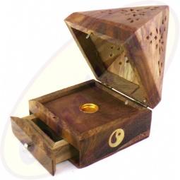 Räucherkegel Box Pyramide Holz Motiv Yin Yang