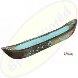 Räucherstäbchenhalter Boot Blau Holz 26cm