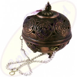 Tibetisches Räuchergefäß rund Metall 12 x 12 cm