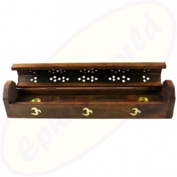 Räucherstäbchenhalter Box aus Holz mit Om Motiv