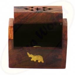 Räucherkegel Box Holz Motiv Elefanten