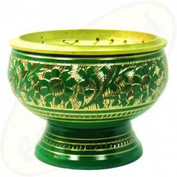 Räuchergefäß Orient in grün aus Messing 7,5 x 5,5 cm