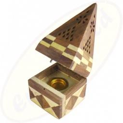 Räucherkegel Box Pyramide Holz Karos offen