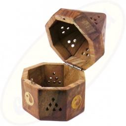 Räucherkegel Box Holz achteckig Yin Yang Motiv
