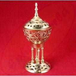 Räucherkegel Brenner Stupa Gold Metall 7,5 x 16,5 cm
