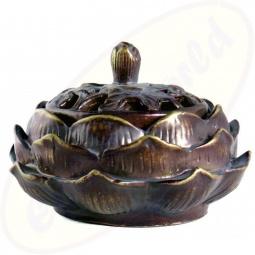 Räucherkegel Halter Lotus in braun 11x7cm