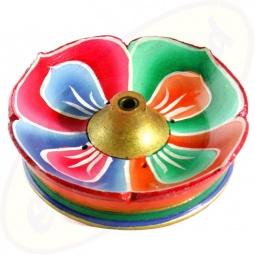 tibetische Räucherstäbchenhalterschale Lotus bunt