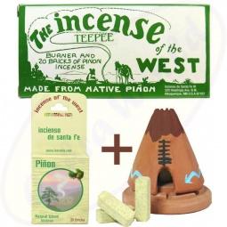 Incienso De Santa Fe South West Indianer Tipi Räucheröfchen & 20 Pinon Briketts