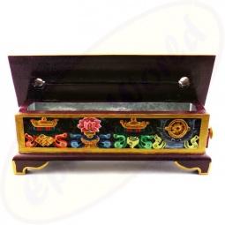 Tibetische Räuchertruhe Holz 29 cm mit glücksverheißenden Zeichen