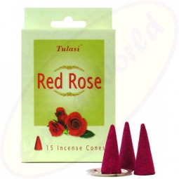 Tulasi Red Rose indische Räucherkegel - Räucherkerzen