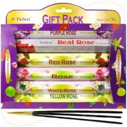 Tulasi Roses Kit 6 x 20 Räucherstäbchen Set
