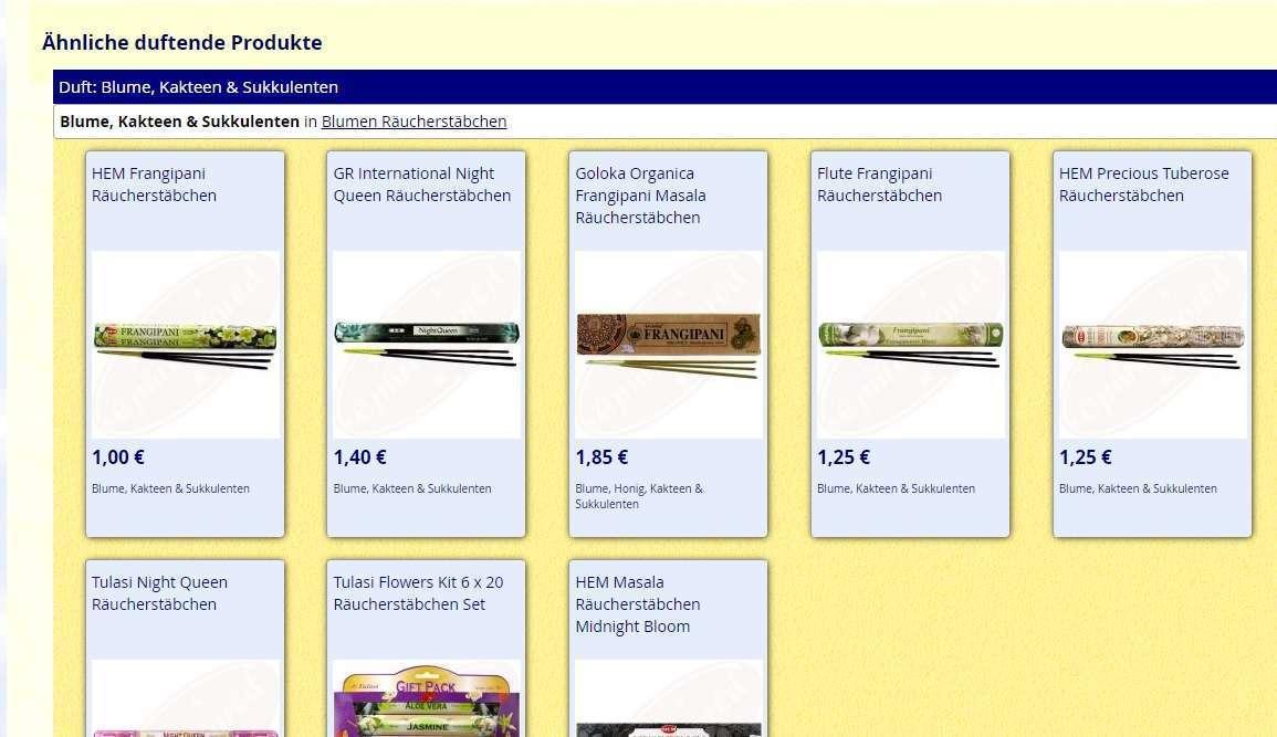Stöbern mit Hilfe Ähnlich duftender Produkte auf der Produktdetailseite